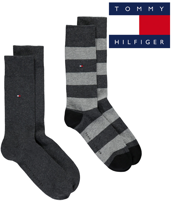 2 paires chaussettes tommy hilfiger rayures. Black Bedroom Furniture Sets. Home Design Ideas