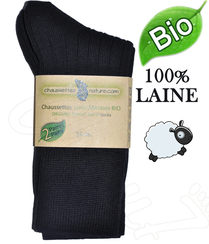 chaussettes homme pure laine m rinos bio par 2 paires. Black Bedroom Furniture Sets. Home Design Ideas