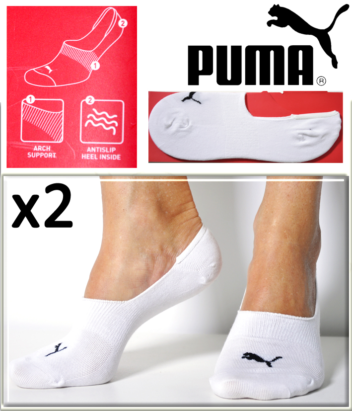 2 paires chaussettes footies coton puma avec anti glisse. Black Bedroom Furniture Sets. Home Design Ideas