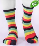 Chaussettes ray�es Doigts Coton Bio