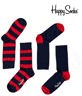 chaussette happy socks rouge bleu marine rayure