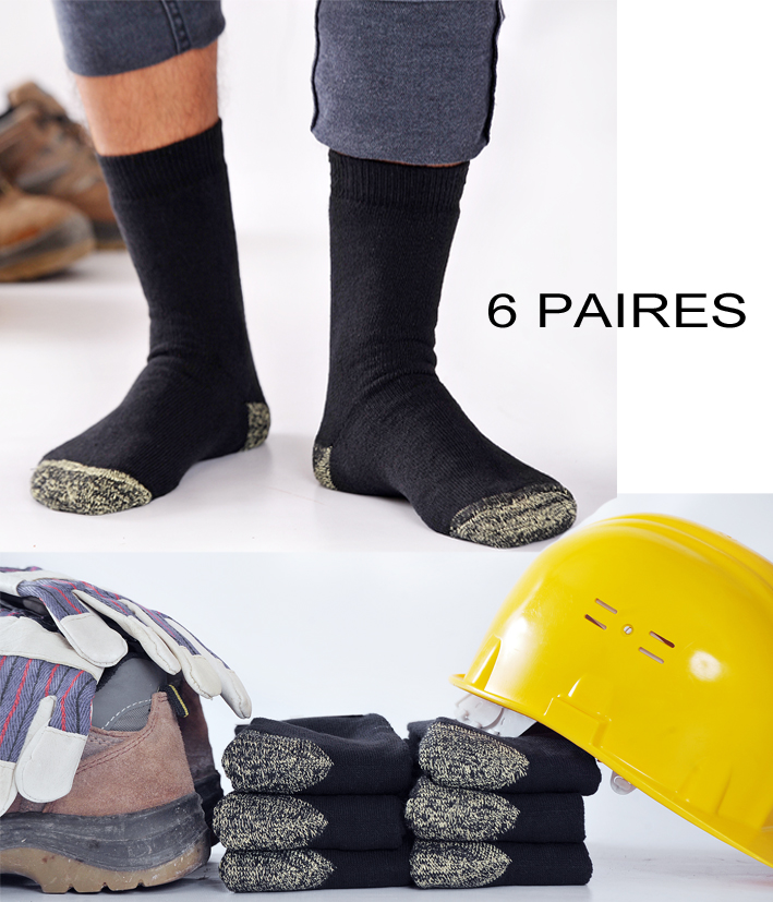 6 paires chaussettes travail solides avec kevlar. Black Bedroom Furniture Sets. Home Design Ideas