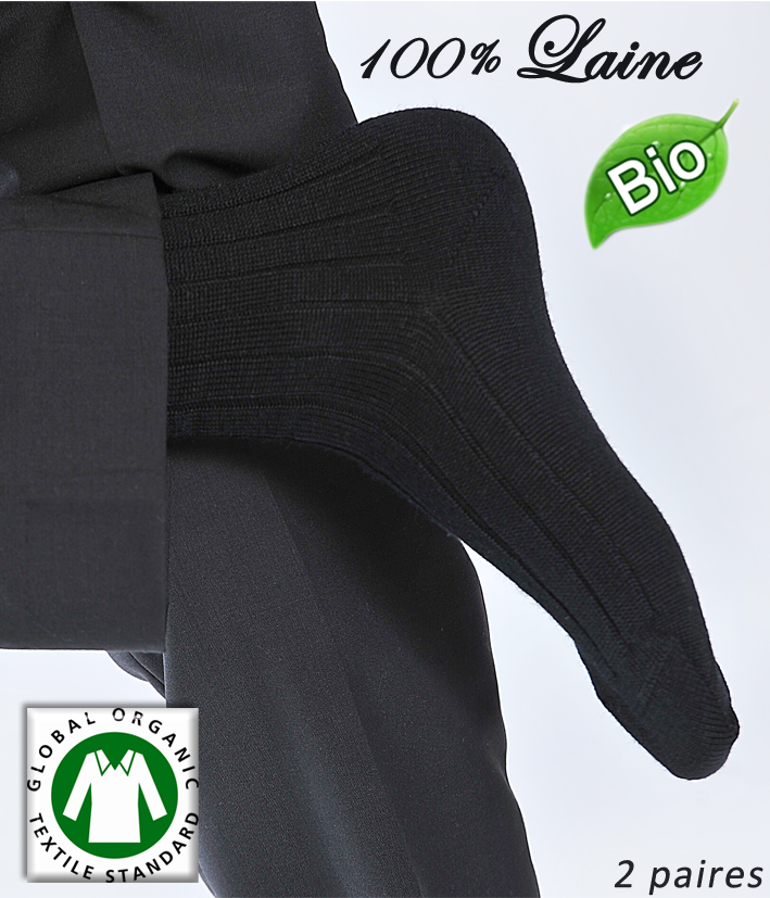 chaussettes homme 100 laine m rinos bio par 2 paires. Black Bedroom Furniture Sets. Home Design Ideas