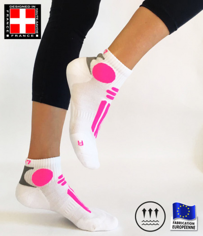 chaussette courte blanc rose fluo course running