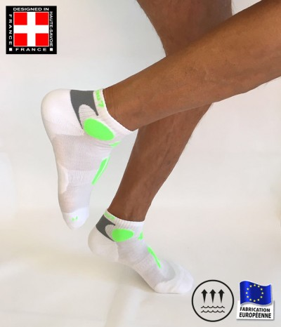 chaussettes course a pied homme vert fluo