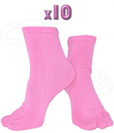 Chaussettes Doigts 10 paires rose clair