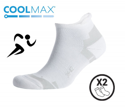 chaussettes sport coolmax velo running courir blanc