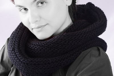 echarpe ronde noire grosse maille snood