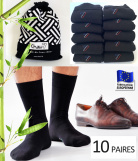 Lot 10 Paires Chaussettes Homme Bambou Nature