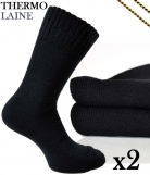 2 paires Chaussettes Montagne Thermo Laine