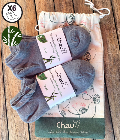 chaussette court homme bambou footi gris