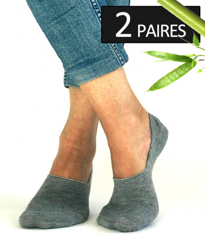 chaussettes courtes invisible footi bamboo gris femme