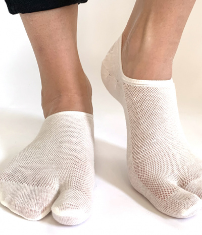 chaussettes invisible 2 doigts blanc