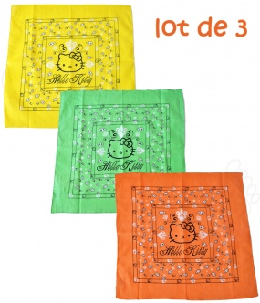 3 Bandanas Hello Kitty en coton